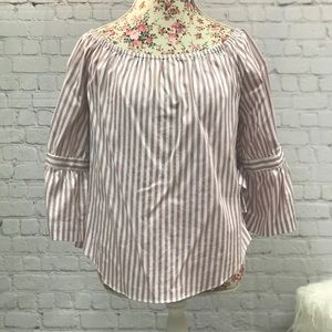 New York & Co Striped Tie Sleeve Blouse Size M